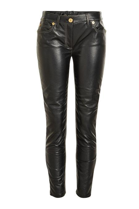 Versace Leather Pants In Black