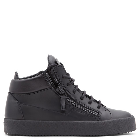Giuseppe Zanotti Leather Mid-Top Sneakers In Nero