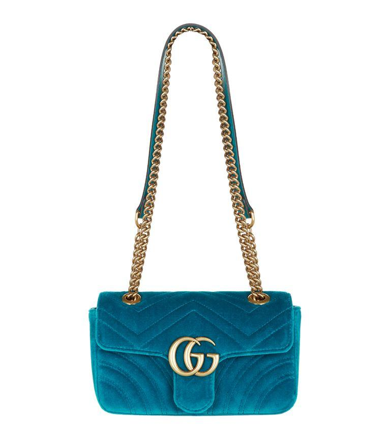 3c69a50faf3f2d Gucci Gg Marmont Mini Chevron-Velvet Cross-Body Bag In Turquoise-Blue