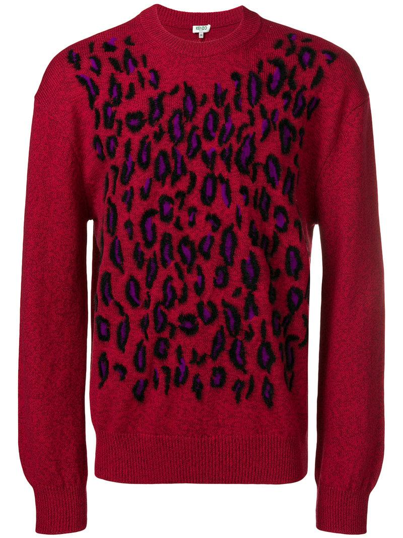 46218c7321 Kenzo Leopard Knit Sweater - Red | ModeSens