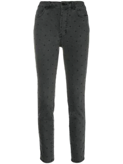 Ulla Johnson Dotted Cropped Skinny Jeans In Black