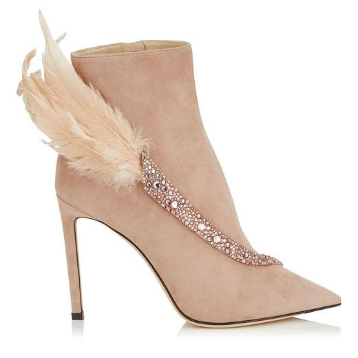 1c0db5c89161 Jimmy Choo Tanya 100 Ballet Pink Suede Booties With Crystals And Feathers In  Neutrals