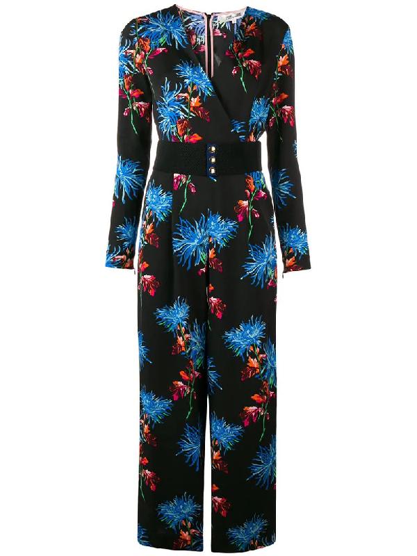 310a037d55ad Diane Von Furstenberg Floral-Print Crossover Crepe Jumpsuit In Black ...