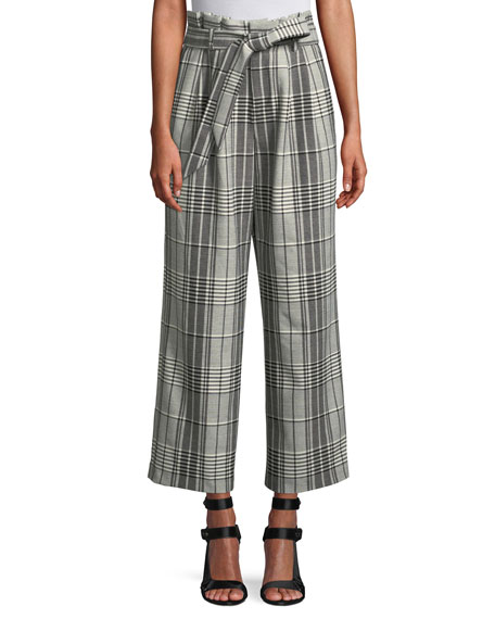 Alice And Olivia Farrel Paperbag Waist Pleated Wide-Leg Windowpane Check Pants In Black/White