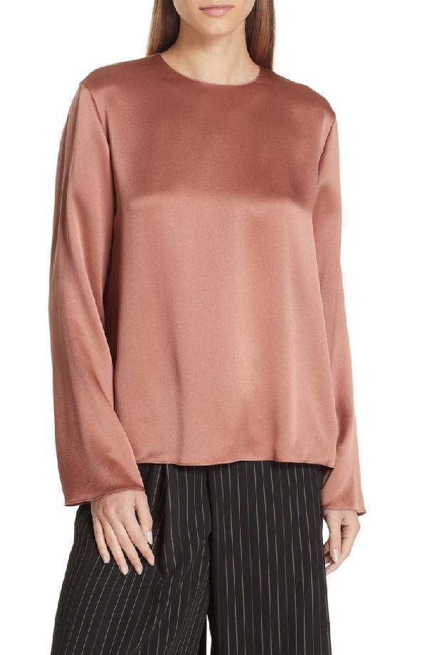 911702d8b397 Vince Tie-Back Silk Long-Sleeve Blouse, Pink In Vintage Rose | ModeSens