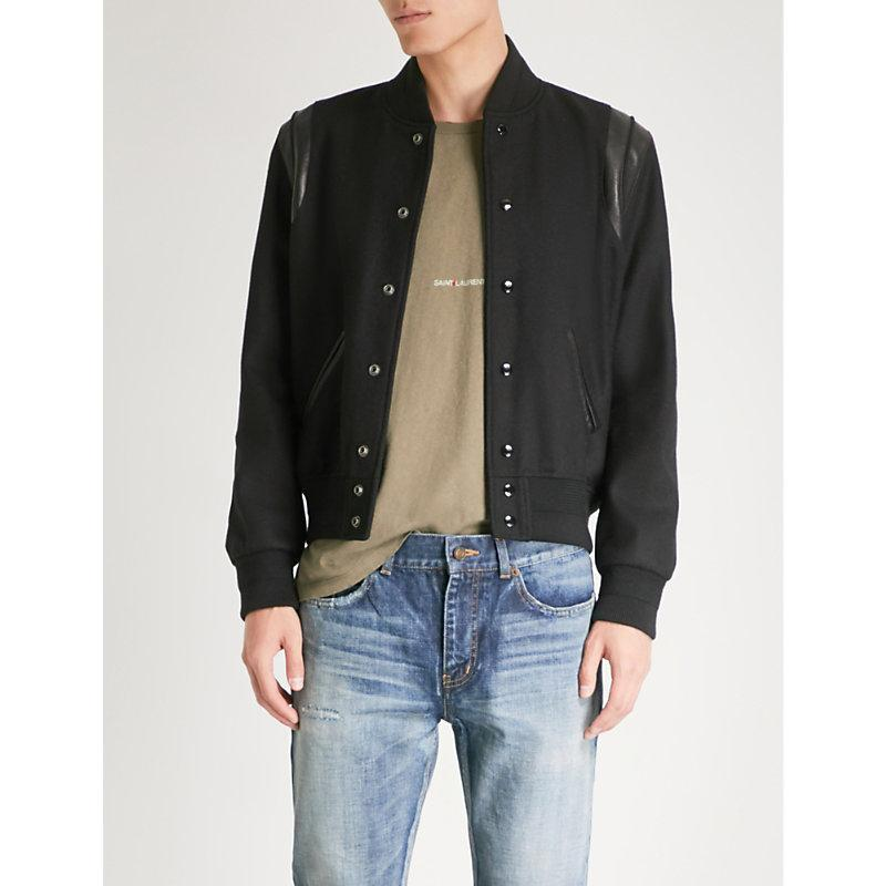 Saint Laurent Leather-Trim Wool Bomber Jacket In Black