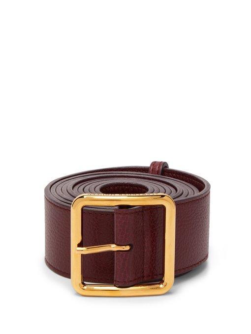 Alexander Mcqueen Long Leather Waist Belt In Burgundy