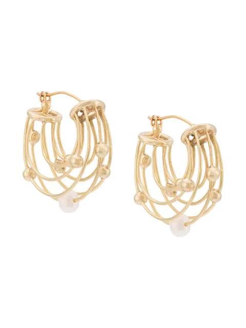 Ellery Classical Scaffolding Gold-Plated Pearl Hoop Earrings In Yellow