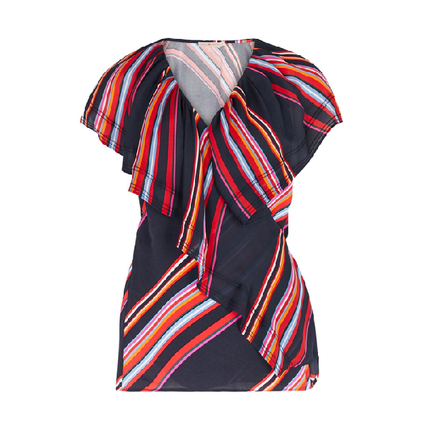 Tory Burch Adelia Ruffle-trimmed Wrap Top In Navy