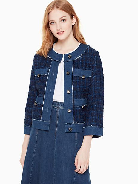 Kate Spade Broome Street Denim Tweed Jacket In Indigo