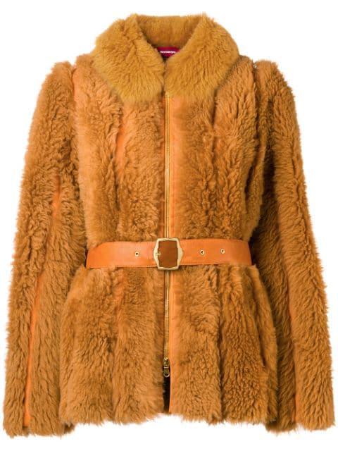 Sies Marjan Belted Shearling Jacket - Brown