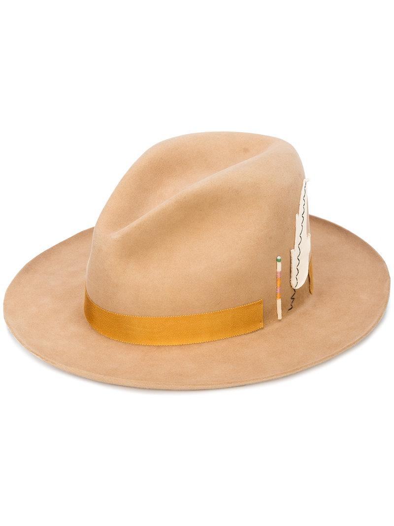 6bf4cb9c Nick Fouquet Feather Patch Fedora Hat In Brown | ModeSens