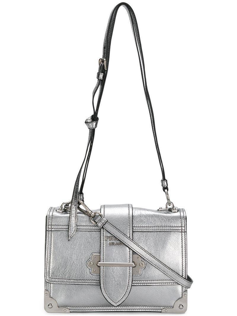 458b38c2d0f9 Prada Cahier Leather Bag - Metallic | ModeSens