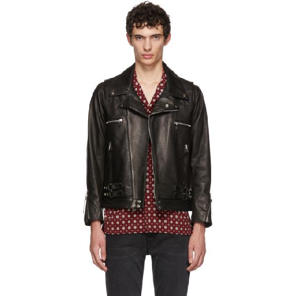John Elliott Riders Slim Fit Leather Jacket In Black