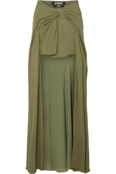 Jacquemus Sahil Asymmetric Draped Crepe Skirt In Army Green