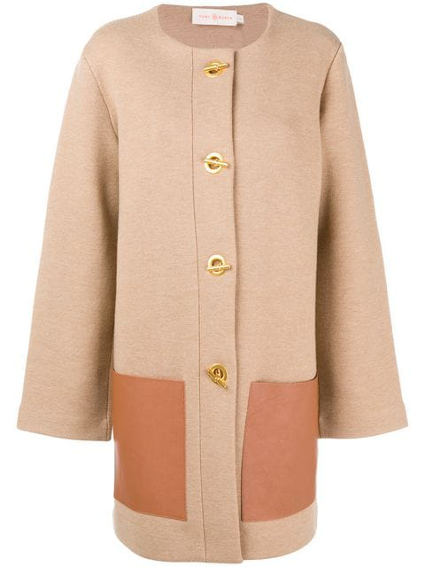 "Tory Burch ""Reagan"" Coat With Leather Pockets In Classic Camel 225"