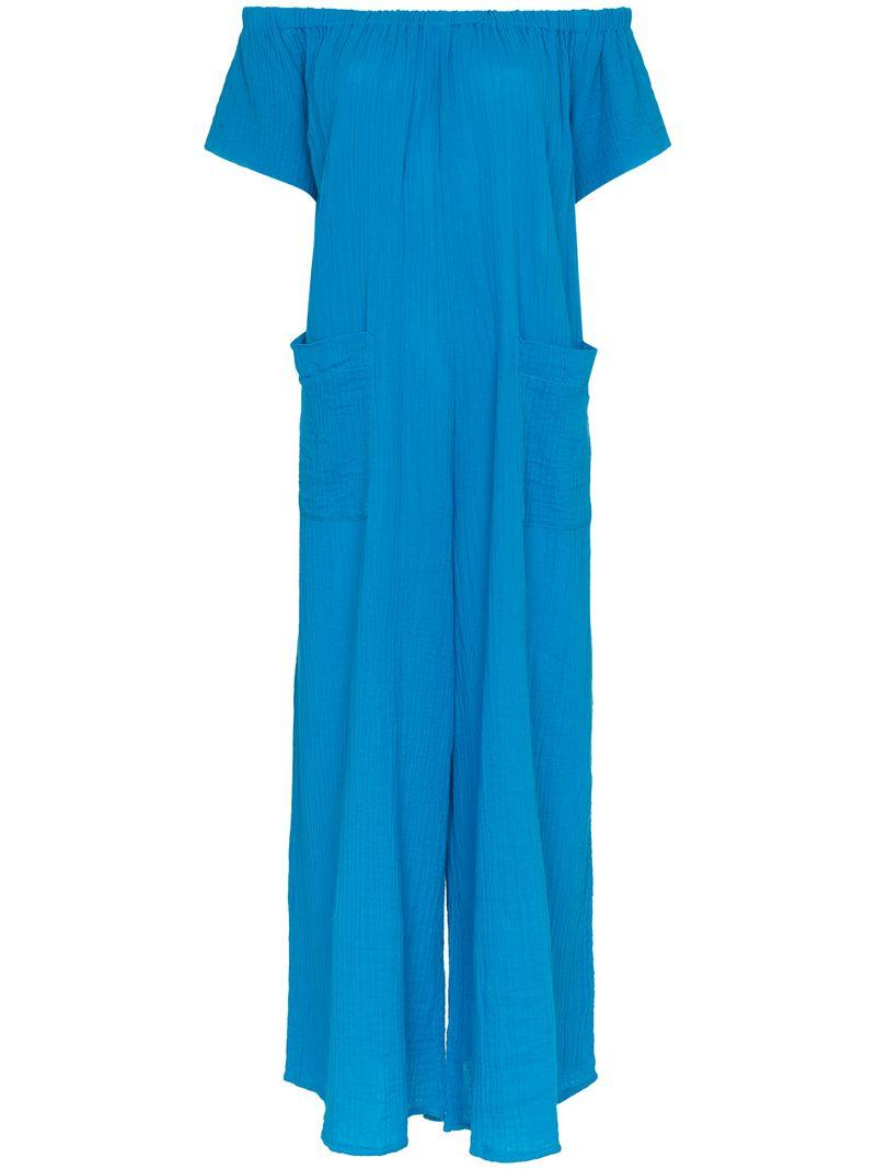 526defee86 Mara Hoffman Blanche Extra Wide-Leg Cotton Jumpsuit Coverup In Blue ...