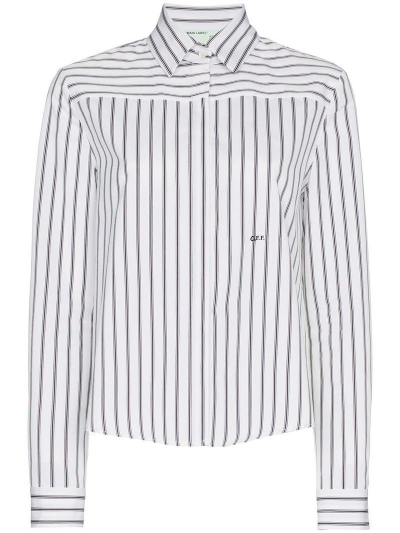 da21fa58223e Off-White Stripe Floral Print Long Sleeve Shirt - Black | ModeSens