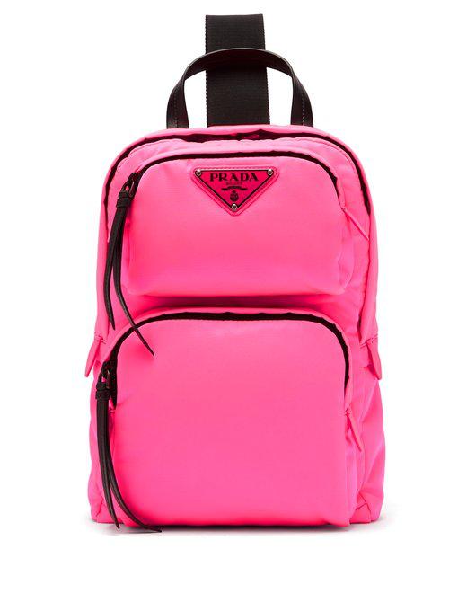 1ddc36894e35 Prada Leather-Trimmed Nylon Backpack In Pink | ModeSens