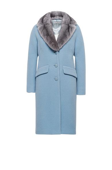 Miu Miu Wool And Angora-Blend Fur-Trim Coat In Blue