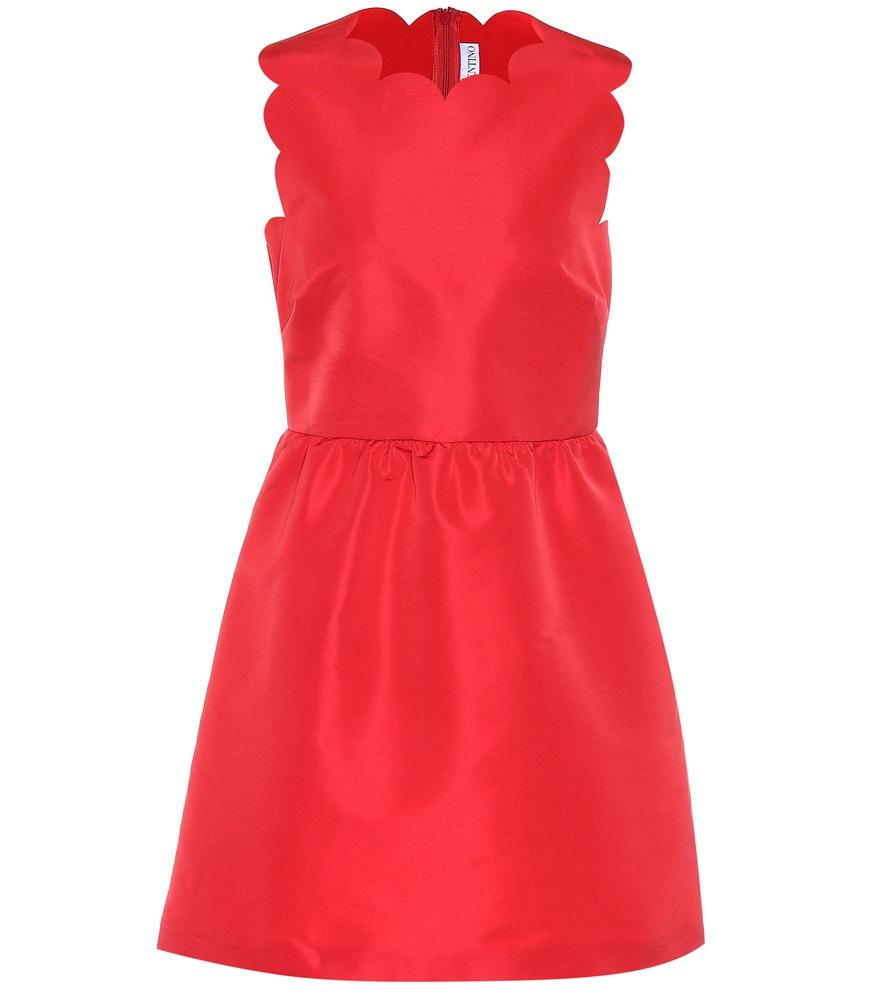 Red Valentino Scalloped Satin Dress In Red