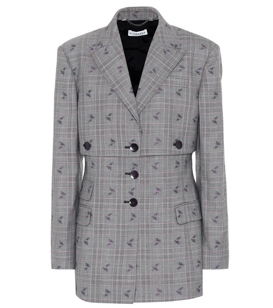 Altuzarra Neil Plaid Wool-Blend Blazer In Grey