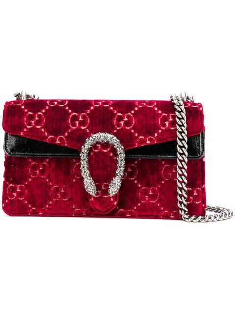 672d0c592 Gucci Dionysus Patent Leather-Trimmed Embossed Velvet Shoulder Bag In Red