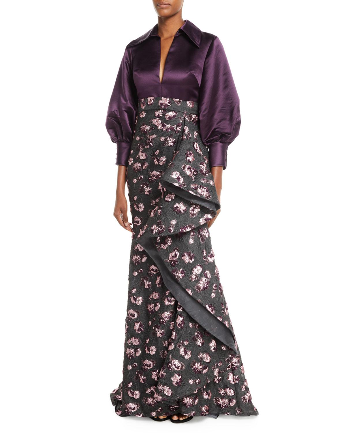Badgley Mischka Split-Neck Long-Sleeve Satin-Top Cascade Floral-Embroidered Evening Gown In Black/Purple