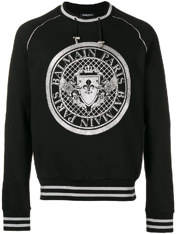 6975c617 Balmain Metallic Logo-Print Cotton-Jersey Sweatshirt In Black | ModeSens