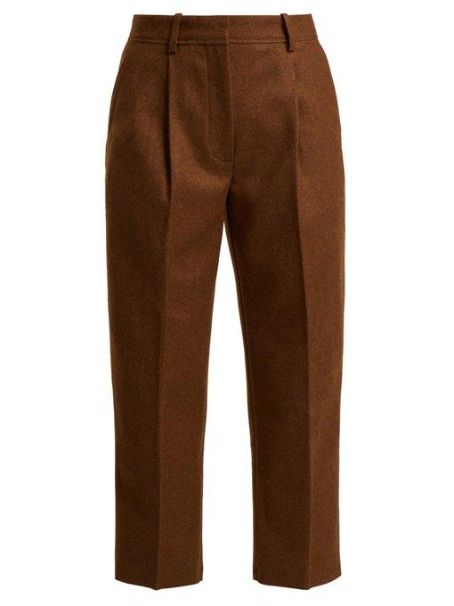 Acne Studios Tapered Wool Blend Trousers In Brown