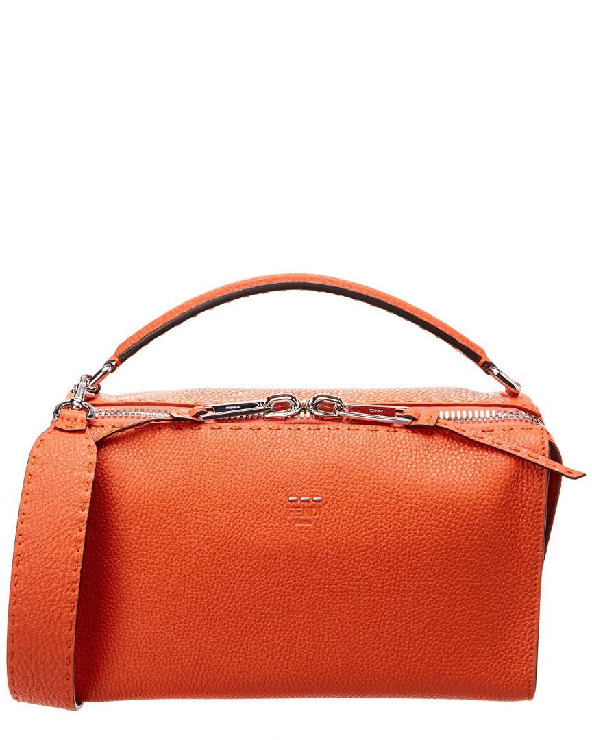 efa8f6cffd Fendi Lei Selleria Leather Boston Bag In Orange