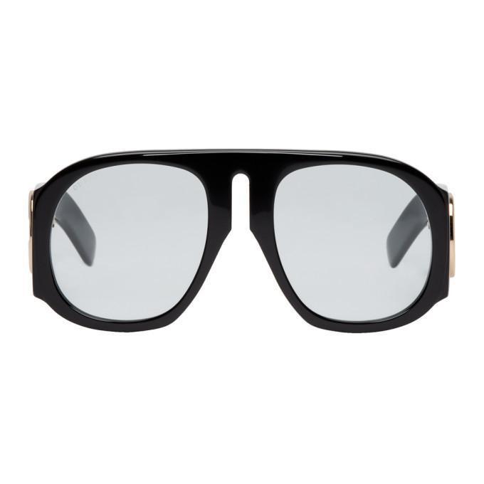 c3bb9d88f1 Gucci Black Aviator Sunglasses In 001 Black B