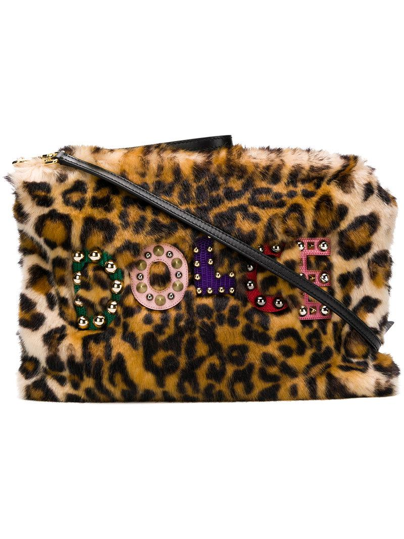 5a19caad983c Dolce   Gabbana Dolce And Gabbana Beige Faux-Fur Leopard Cleo Pouch In Brown