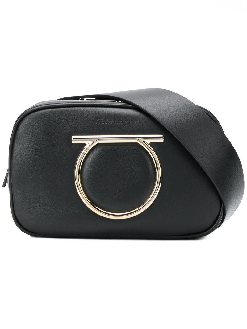 Salvatore Ferragamo Vela Leather Belt Bag In Black d97cfbfff5013