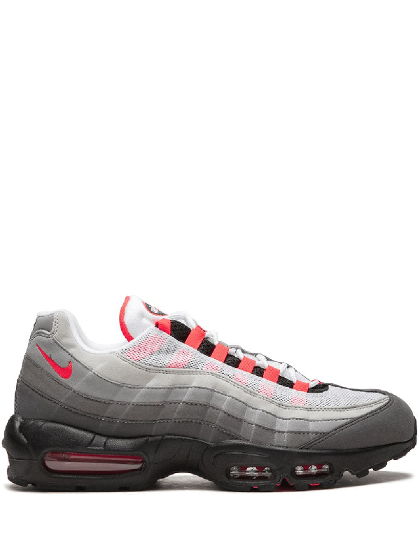 093c547e17 NIKE. Men's Air Max 95 Og Casual Shoes, White/Grey in White/Solar Red/ Granite-Dust