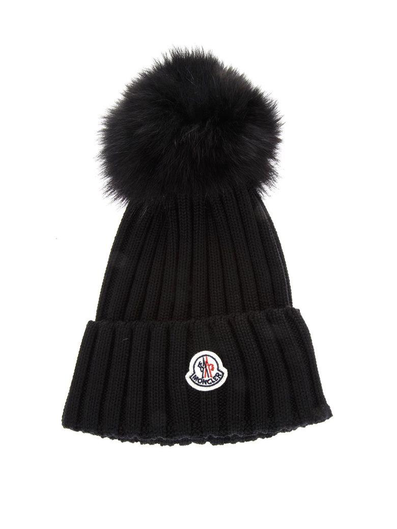 56fe791ba4a Moncler Wool Beanie Hat With Fur Pompom In Black