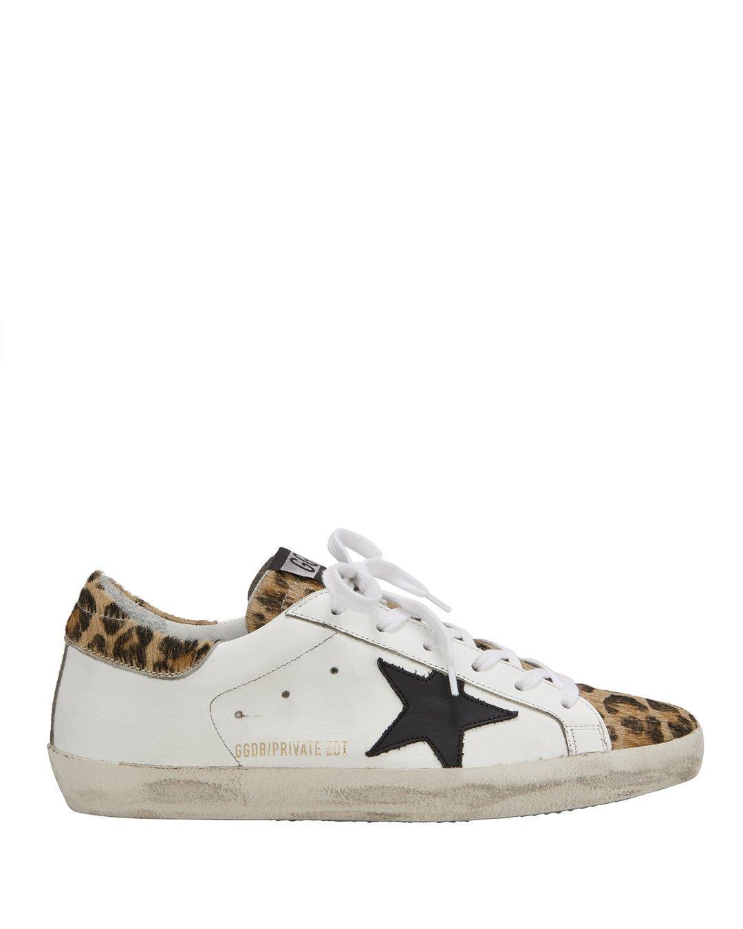Golden Goose Superstar Leopard Low-Top Sneakers In White