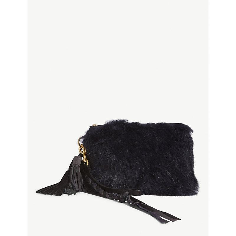 fcc222fc15 Sacai Navy Blue Faux Fur Clutch Bag