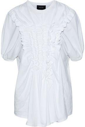 Simone Rocha Woman Ruffled Cotton-Jersey T-Shirt White