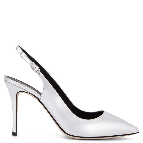 Giuseppe Zanotti - Silver Patent Leather Slip On Pumps Yvette