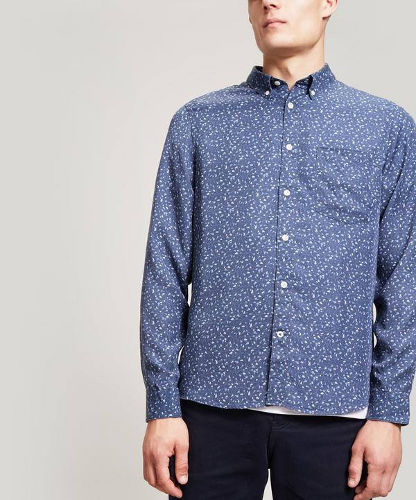 Nn07 Floral Tencel Shirt In Blue