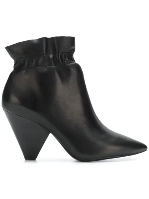 Ash Dafne Black Calf Leather Ankle Boots