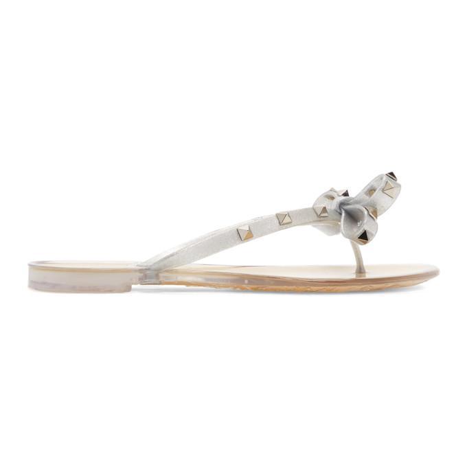 e357732b7 Valentino Silver Garavani Rockstud Jelly Sandals In D00 Argento ...