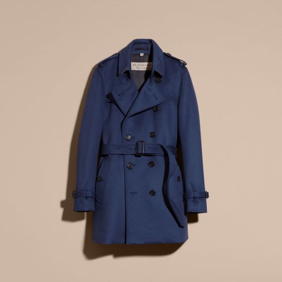 5dd49d1ab Burberry Wool Cashmere Trench Coat In Bright Steel Blue