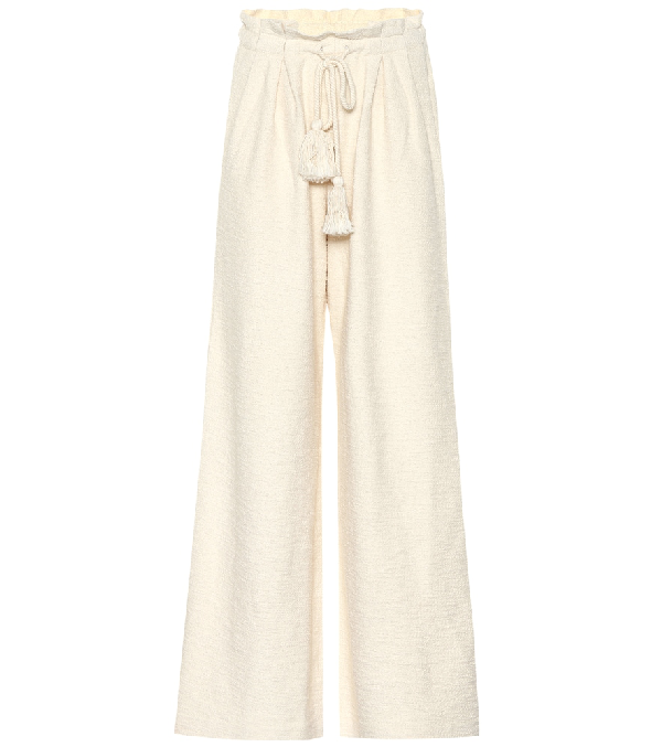 Ulla Johnson Ayana Cotton-Terry Wide-Leg Pants In Ivory