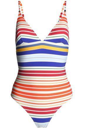 Stella Mccartney Striped Swimsuit In Ivory