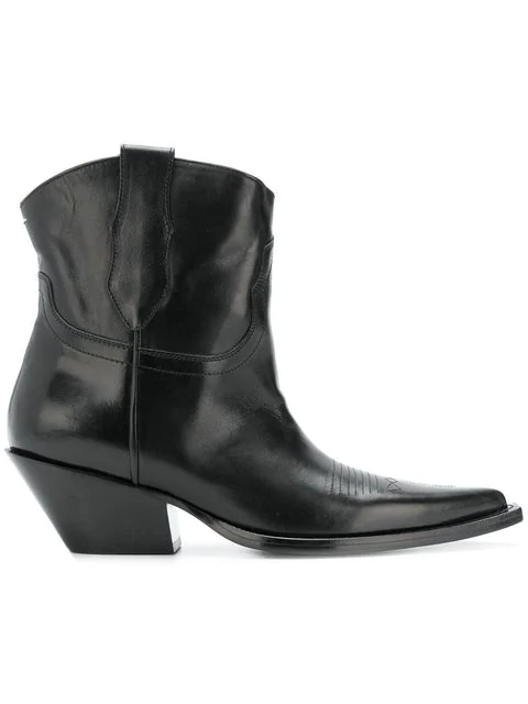 92944472213 Leather Western Ankle Boots in Black