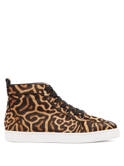 99430fbc34e Men's Rantus High-Top Leopard-Print Pony Hair Sneakers in Tonal Brown