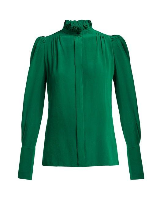 70b410b7327d24 Isabel Marant Lamia Ruffle-Trim Silk Blouse In 60Gr Green