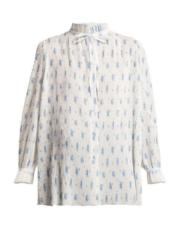 Balenciaga Ruffled Tie-neck Floral-print PlissÉ Blouse In White Print